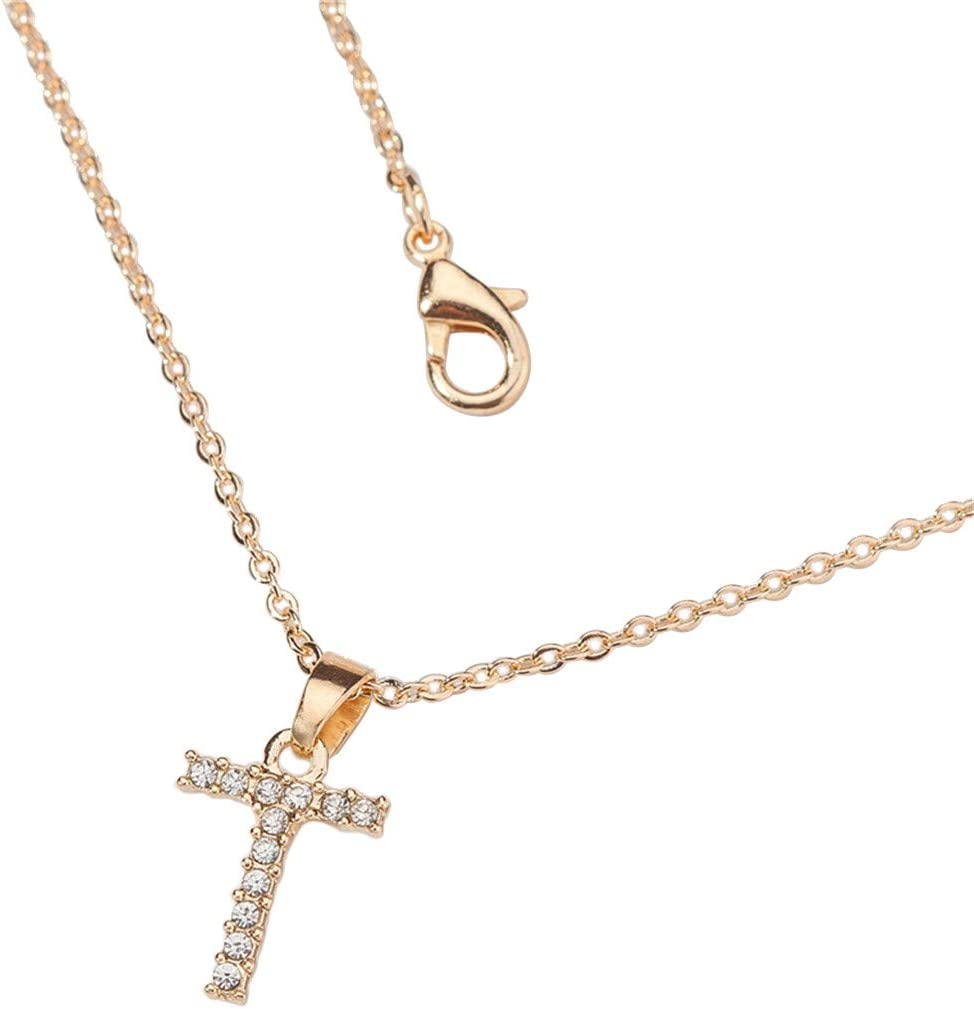Taswuw Gold Diamond Initial Letter Pendant Necklace Letter Necklace Alphabet Pendant Charms Solid Gold Initial Jewelry White Color Stone Nice Gift for Women Gift