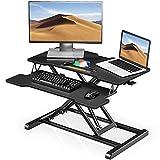 Fenge Standing Desk Converter 32''/80cm Color Negro Convertidor de Escritorio de pie con Bandeja de Teclado Altura Ajustable SD315001WB