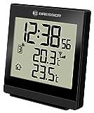 BRESSER - Temeo SQ, Termometro con rilevazione della Temperatura Interna ed Esterna, Orologio Radio-Controllato, Sveglia, Colore: Ne