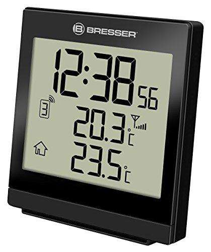 Bresser Wetterstation Funk mit Außensensor Temeo SQ mit automatischer Zeitanzeige, LED Hintergrundlicht, Anzeige der Innen- und Außentemperatur mit Weck und Schlummerfunktion, schwarz