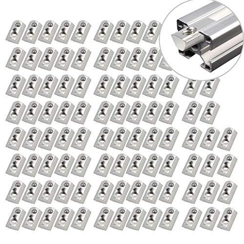 EyPiNS Tuerca de ranura en T de Acero Galvanizado M8 con Placa Guía y Bolas para Perfil de Aluminio 4040 4080, Tuercas de bola de perfil de metal