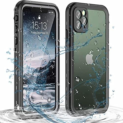 Senmore Funda Impermeable iPhone 12 Pro, Antipolvo Anticaída Antiarañazos, Protector de Pantalla Incorporado, Negro