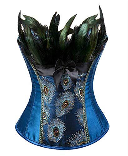 Burlesque Pfau Pattern Korsett Corsage Halloween Karneval Kostüme (EUR(48-50) 6XL, Blau)