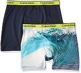 Calvin Klein Boys' Kids Performance Boxer Brief Underwear, Multipack, 2 Pack - Black Iris/Ocean Sublimation, L (12/14)