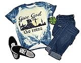 Give God The Reins Country T-shirt de cowboy à manches courtes et col rond pour femme Style vintage - bleu - Taille XL