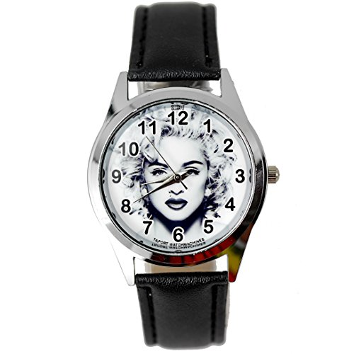 taport® Madonna Quarz Runde Uhr Schwarz Echt Leder Band BW Zifferblatt + Gratis Ersatz Batterie + Gratis Geschenkverpackung