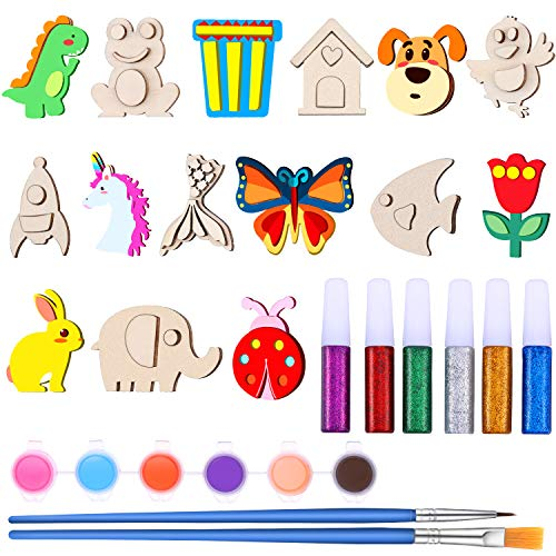 15 Piezas Imanes de Madera Kit de Pintura Manualidades de Creatividad Kit de Manualidades de Imanes de Animal con 12 Pinturas, 2 Pinceles, 6 Bolígrafos de Pegamentos Brillantes para Dibujo