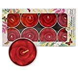 8 Handmade scented red rose tealight candles in a beautiful gift box with blue botanic design