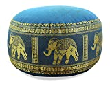 livasia Kapok Zafukissen, Sitzkissen, Yogakissen, Bodensitzkissen, Meditationskissen (hellbau-Elefanten)