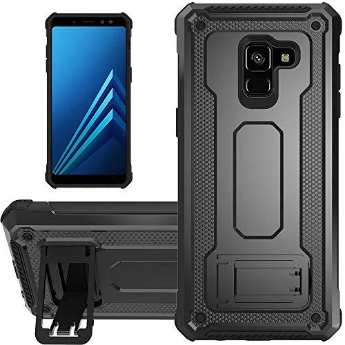 """KUAWEI Coque Samsung Galaxy A8 2018 Slim Armure Series - Lourde Hybride Protège -Corps Complet Étui Protecteur Résistant Aux Chocs avec Housse de Protection Kickstand pour Galaxy A5/A8 5.6"""" (Noir)"""