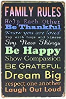 Family Rules Help Each Other Be Thankful Be Happy Dream Big 金属板ブリキ看板警告サイン注意サイン表示パネル情報サイン金属安全サイン