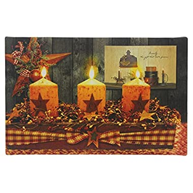 Oak Street Christmas  HOPE  Holiday Style Light Up Candles Tabletop Canvas Art with Twinkling LED Lights and Timer (8  x 6 )