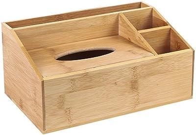 Caja de pañuelos para el hogar Caja de pañuelos de almacenamiento de madera maciza Caja de almacenamiento de escritorio Cubierta de almacenamiento de bambú creativa y práctica (Size : 26*16*12) : Amazon.es: Hogar