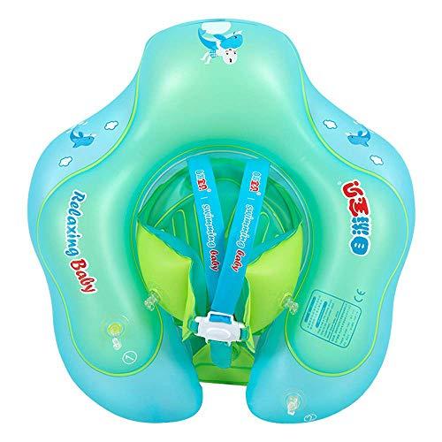 [Actualización] Anillo de natación ajustable para bebé, flotador de bebé recién nacido para piscina con bomba manual (azul - XL (24-36mes))