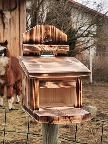 Eichhörnchen Futterhaus Futterstation Witterungsbeständig geflammt FutterautomatMade in Germany (Bayrischer Wald), aus bayerischem Fichtenholz verschraubt und wasserfest verklebt