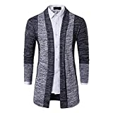 Chaqueta de hombre para otoño e invierno, chaqueta de moda para hombre, color de contraste, abrigo, suéter, chaqueta de punto para mantener el calor, con contraste, gris oscuro, S