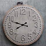 FENGCLOCK Orologio da Parete in Ferro Vintage Art, personalità Creativa Muto Senza Zecca Suoni Orologi da Parete Stile Industriale, Retro Vecchio Orologio al Quarzo, Decorazione Soggiorno,2