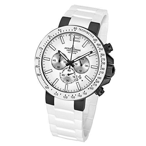 Jacques Lemans Herren Chronograph Quarz Smart Watch Armbanduhr mit Silikon Armband 1-1696G