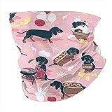 Pasamontañas para perros calientes y limonada con fondo rosa pastel salchicha salchicha salchicha perros variados, pasamontañas, antipolvo, multifuncionales, para deportes al aire libre, color negro