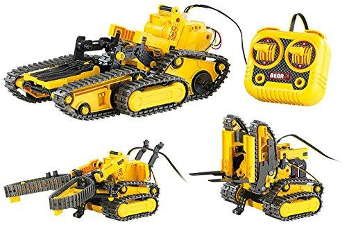 Playtastic Bagger: 3in1 Geländegängiger Kettenroboter mit Kabel-Fernsteuerung (Bausatz) (Roboter)