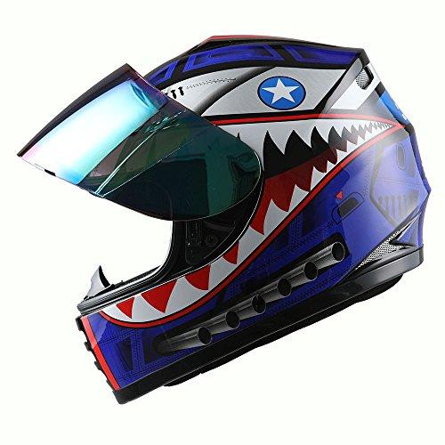 WOW Motorcycle Full Face Helmet Street Bike BMX MX Youth Kids Shark Blue; Size S (49-50 cm 18.9/19.3 Inch)
