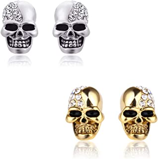 Dohuge 4 Pcs Punk Stainless Steel Skull Stud Earrings with Crystal Eyes Retro Glossy Skull Stud Earrings for Men Women, Silver and Gold (A)