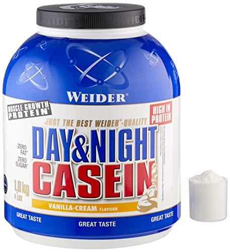 Weider Day & Night Casein Vainilla 1,8 kg. Fórmula protéica a base de puro caseinato cálcico. Efecto saciante ✅