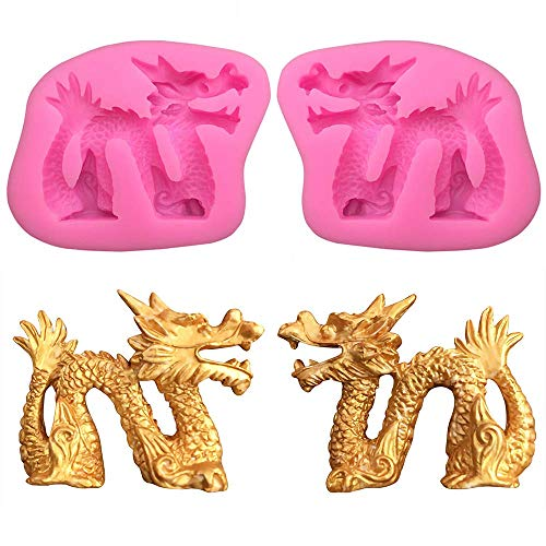 2Pcs/Set 3D Dragon Fondant Mold Chinese Zodiac Dragon Silicone Gum Paste Sugar Craft Mold for Cake Cupcake Topper Decorating Tools Polymer Clay Epoxy Resin Mold