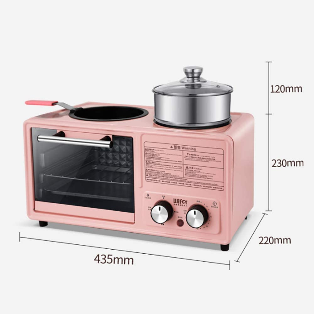 LHFD Multifunctionele ontbijtmachine thuis, vier in een luie broodrooster, fornuis broodrooster, mini-elektrische oven. Blue Steamer Pizza Pan