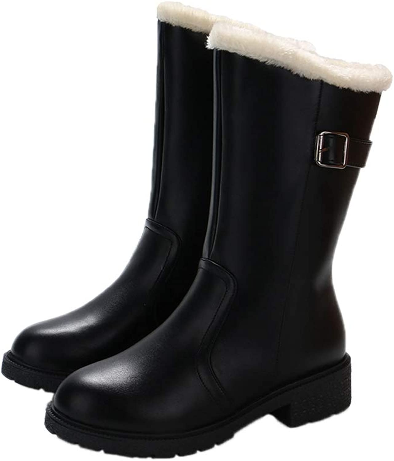Mid Calf Women's Rain Boots Fall Fur Inside Black shoes Woman 4cm Med Heels Female Casual Buckle Footwear