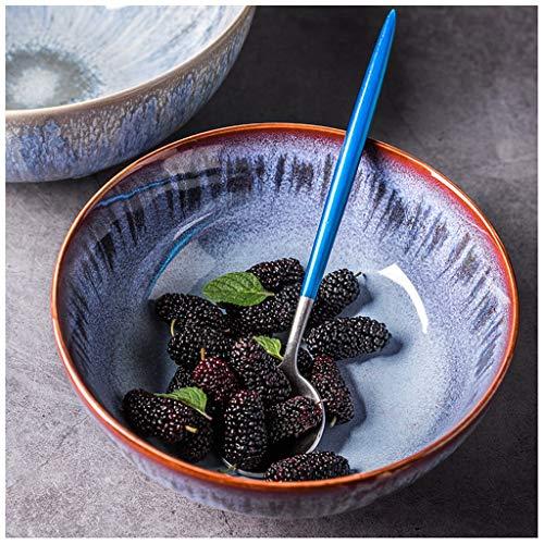 YYF Bol en céramique de couleur peint à la main - bol sous émaillé/bol plat/bol à soupe/bol à salade 7,5-8 pouces (Taille : B)