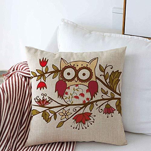 Mengghy Decoración para el hogar, funda de almohada, funda de almohada, fundas de almohada, diseño de búho, bonito y adorable de colores, diseño de pájaros grandes, ojo de libro infantil