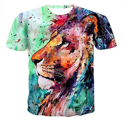 NSBXDWRM 3D Print T-shirt, unisex creatieve 3D-olie schilderij stijl leeuw T-shirt zomer casual sportief sneldrogend korte mouwen tops sweatshirts T-stukken