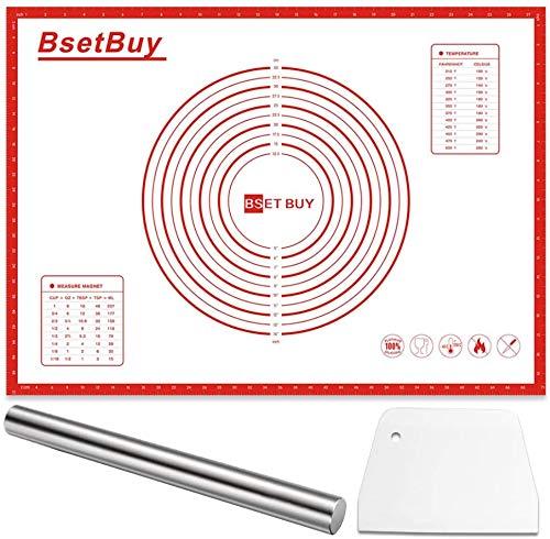 BSET BUY Backmatte Set 70x50cm, BPA Frei Silikon Backunterlage, Silikonmatte Backfolie Arbeitsmatte mit Messung für Fondant Gebäck Pizza Matte (70x50cm)