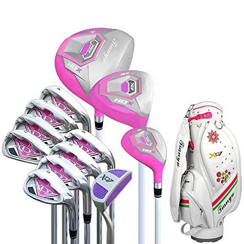 Quskto Golfschläger Komplettsets, Frauen Golf Anfänger 12 Stück Golf Club Set Pink Golf Putter Golf Practice Club Set für Damen einfache Ausrichtung (Color : One Color, Size : A2)