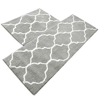 Kitchen Mat, U'Artlines Decorative Non-slip Microfiber Doormat Bathroom Mats Shower Rugs for Living Room Floor Mats set (17.7x25.6+17.7x47.2, Gray)