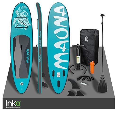 Inka Premium Moana - Tabla de surf hinchable para kayak, 308 x 76 x 10 cm, capacidad de 120 kg, con kit de reparación y accesorios (turquesa)