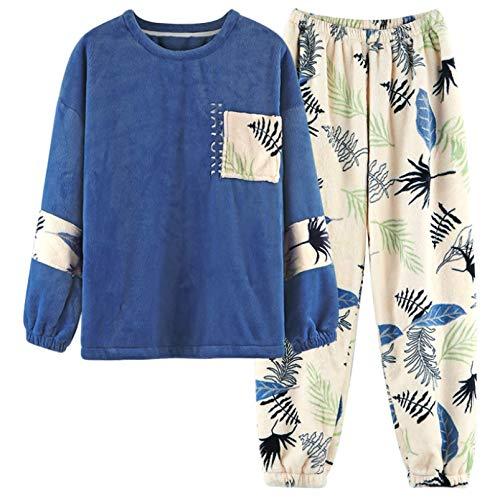 LEYUANA Conjuntos de Pijamas cálidos otoño Invierno para Mujer L Color4