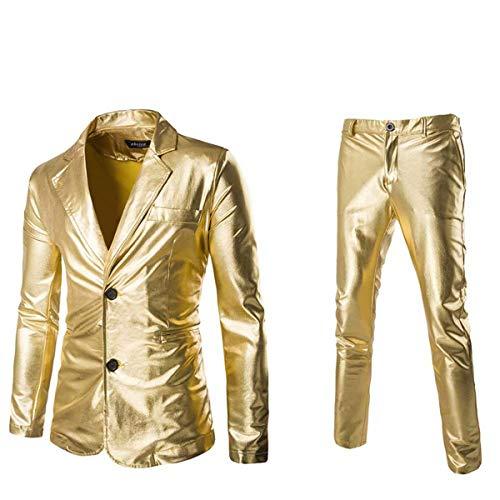 ゴールドスーツメンズ 上下セット セットアップ ビジネススーツ スリム 着心地良い 礼服 結婚式 就職スーツ オールシーズン シンプルデザイン 上下セット 無地 パーティー スーツ3色 (ゴールド, L)