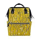 Mochila escolar de gran capacidad, diseño de ramas amarillas, ideal para mujeres, hombres, adultos, adolescentes, niños