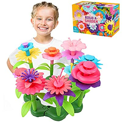 Jellydog Toy Flower Garden Building Toys,Build a Bouquet Floral Arrangement Playset for Toddler Girls 3 Year, Creative Arts and Crafts Educational Kids Toy Set,52 PCS