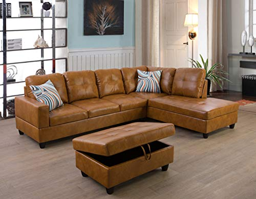 Ainehome Furniture Sectional Sofa Set, L Shape Couch, Living Room Sofa Set, Leather Sectional Sofa with Storage Ottoman & Toss Pillows(Right Hand Facing,Ginger)