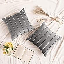 MIULEE 2 Piezas Funda de Cojines de Terciopelo Super Suave Funda de Almohada de Sofá Decoración Moderna para Oficina Sofa Cama Sala de Estar Dormitorio Habitación Silla 45x45cm Gris Claro