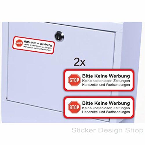 Set van 2 stuks Alstublieft geen reclame bordje brievenbus sticker vinyl stickers 7 x 2 cm