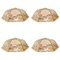 フードカバー レストランキャンプのための昆虫家庭用食品のテントの4メッシュダストカバー洗える折りたたみ食事カバー360°予防のセット (Color : Printing, Size : 78cm*78cm)