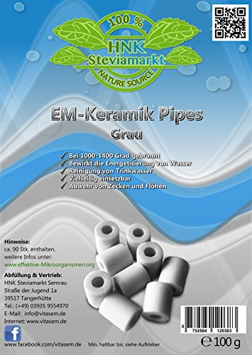 VITASEM Steviamarkt EM Keramik Pipes 100 Gramm, ca. 65-80 Stück in Grau + EM Keramik Info-online | Mikroorganismen - Wasserbereitung & Energetisierung