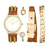 Rocawear Womens Quartz Chain Analog Watch with Bangle Gift Set