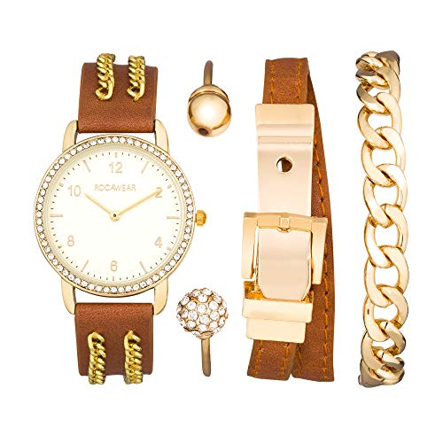 Rocawear Womens Quartz Chain Analog Watch with Bangle Gift Set