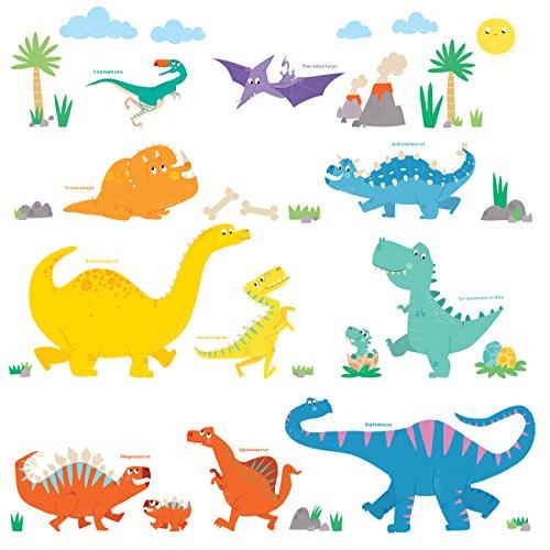 DECOWALL DW-1703 Dinosaurio Colorido Vinilo Pegatinas Decorativas Adhesiva Pared Dormitorio Salón Guardería Habitación Infantiles Niños Bebés