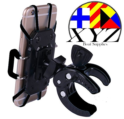 XYZ Boat Supplies Cell Phone Mount/Holder for Motorcycle/Bike Handlebars/Boat, iPhone, Samsung, Smart Phone, (Black)